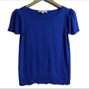 Anne Taylor LOFT royal blue cap sleeve shirt
